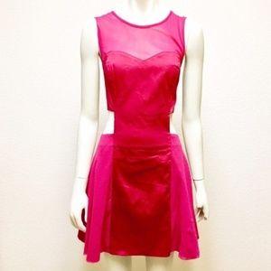 ASOS Size 12 Red Mesh Cutout Mini Dress
